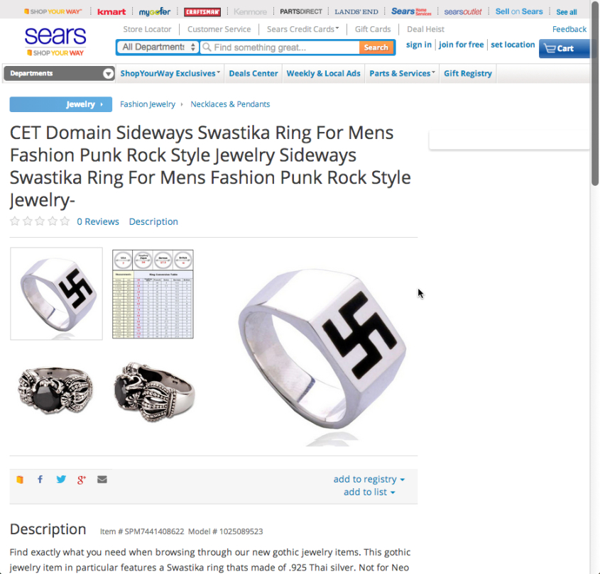 Sears swastika ring